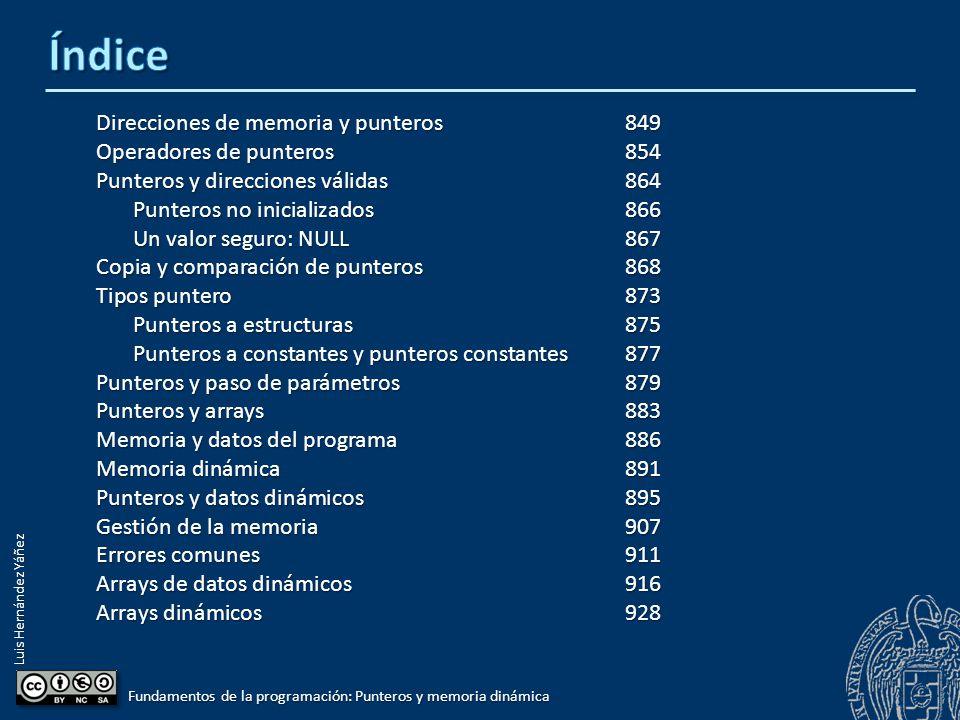 Luis Hernández Yáñez Fundamentos de la programación: Punteros y memoria dinámica Direcciones de memoria y punteros849 Operadores de punteros854 Punter