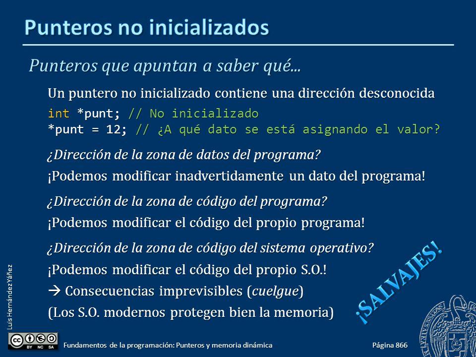 Luis Hernández Yáñez Punteros que apuntan a saber qué... Un puntero no inicializado contiene una dirección desconocida int *punt; // No inicializado *