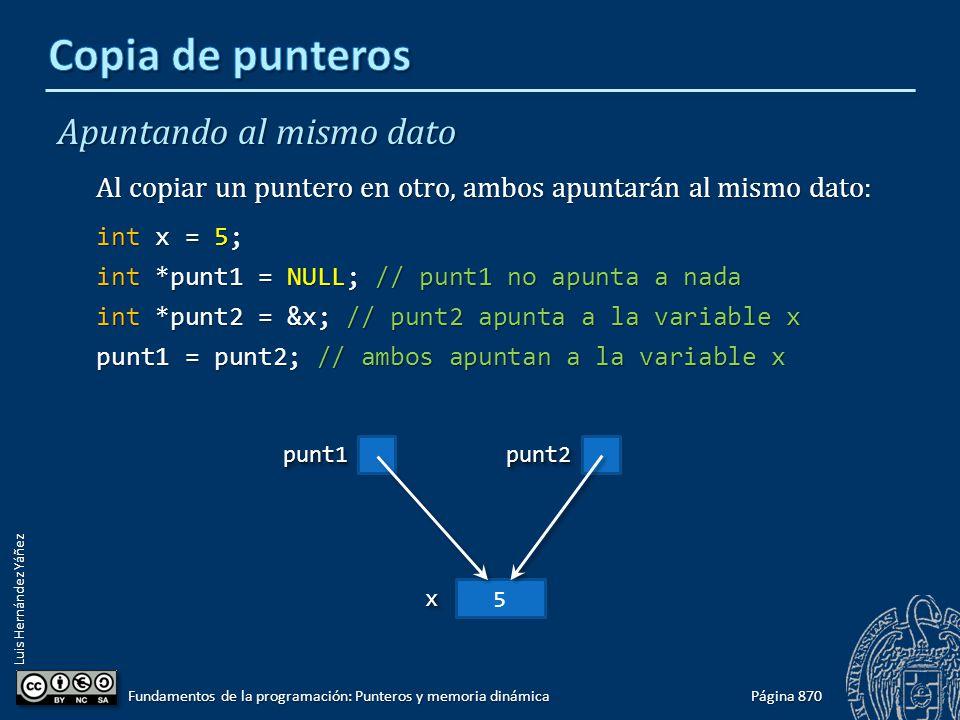 Luis Hernández Yáñez Apuntando al mismo dato Al copiar un puntero en otro, ambos apuntarán al mismo dato: int x = 5; int *punt1 = NULL; // punt1 no ap