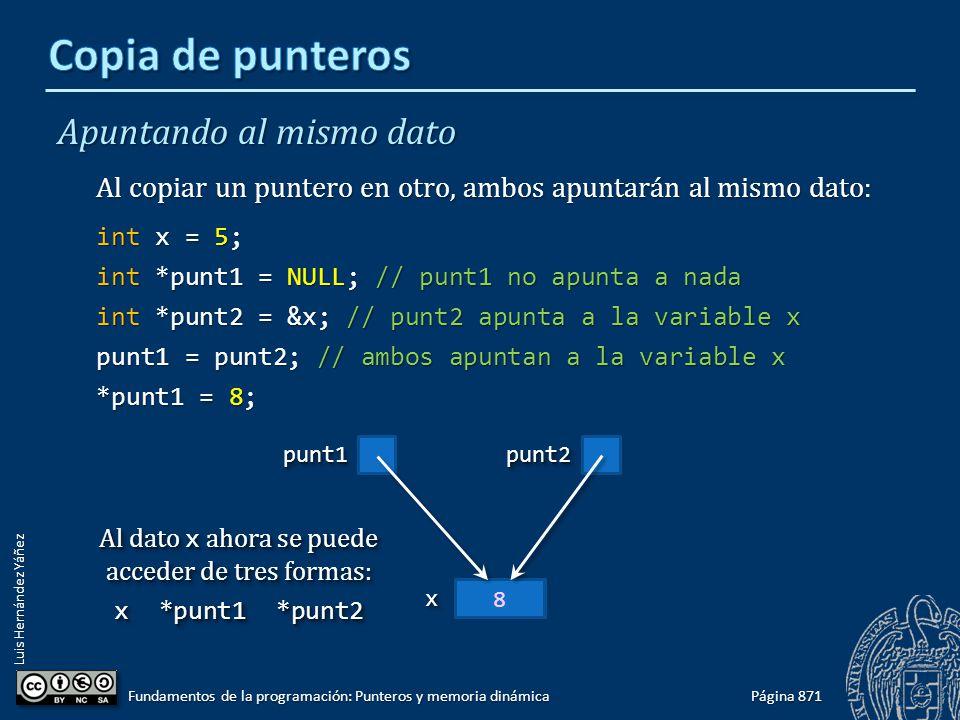 Luis Hernández Yáñez 5xx Apuntando al mismo dato Al copiar un puntero en otro, ambos apuntarán al mismo dato: int x = 5; int *punt1 = NULL; // punt1 n
