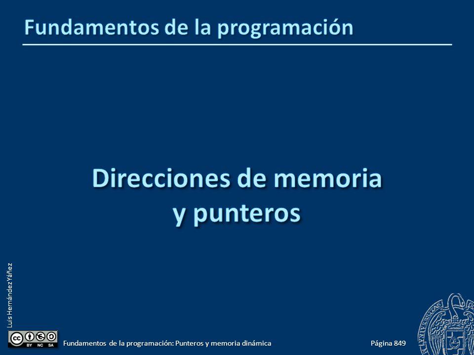 Luis Hernández Yáñez Página 849 Fundamentos de la programación: Punteros y memoria dinámica