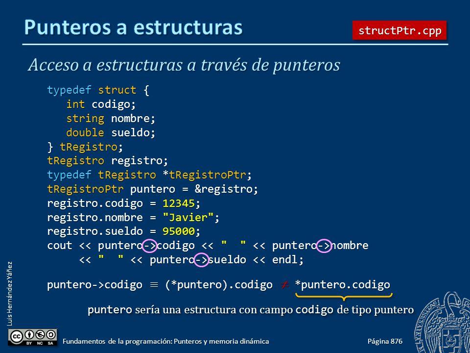 Luis Hernández Yáñez Acceso a estructuras a través de punteros typedef struct { int codigo; int codigo; string nombre; string nombre; double sueldo; d