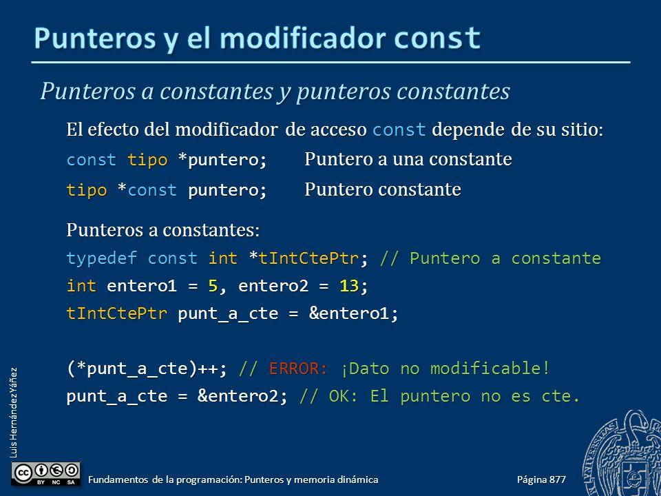 Luis Hernández Yáñez Punteros a constantes y punteros constantes El efecto del modificador de acceso const depende de su sitio: const tipo *puntero; P