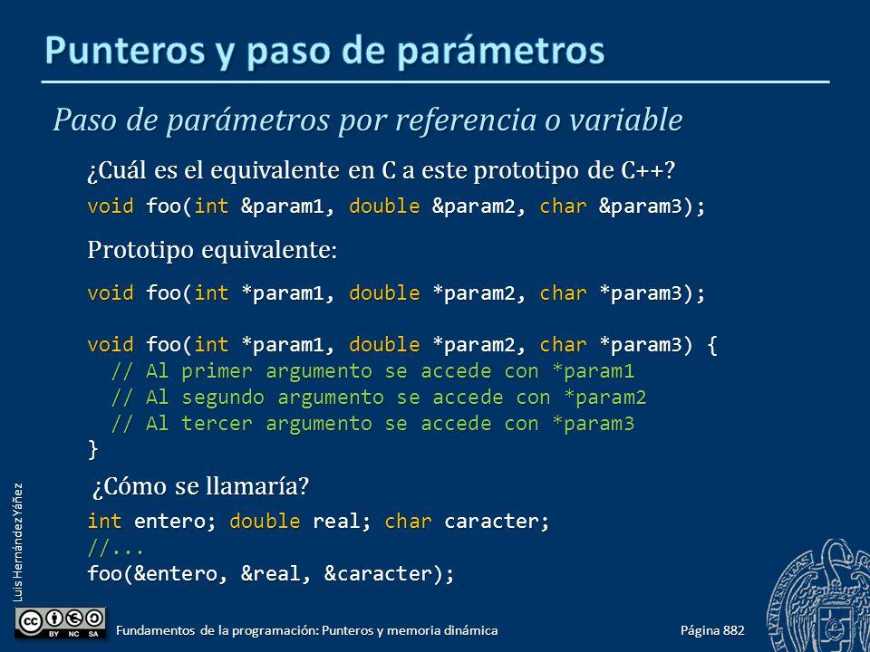 Luis Hernández Yáñez Paso de parámetros por referencia o variable ¿Cuál es el equivalente en C a este prototipo de C++? void foo(int &param1, double &
