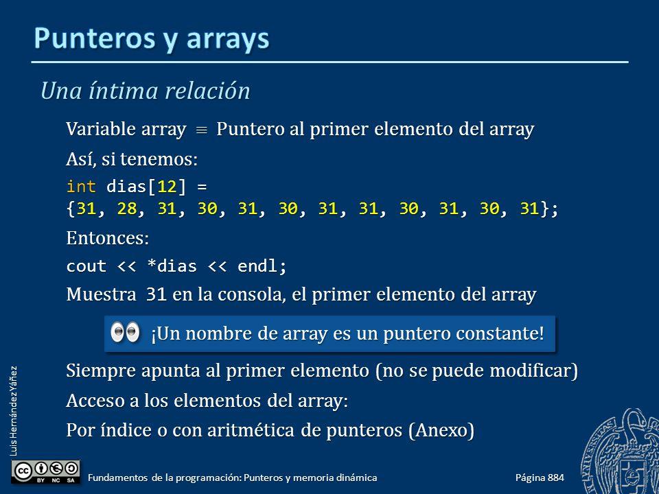 Luis Hernández Yáñez Una íntima relación Variable array Puntero al primer elemento del array Así, si tenemos: int dias[12] = {31, 28, 31, 30, 31, 30,