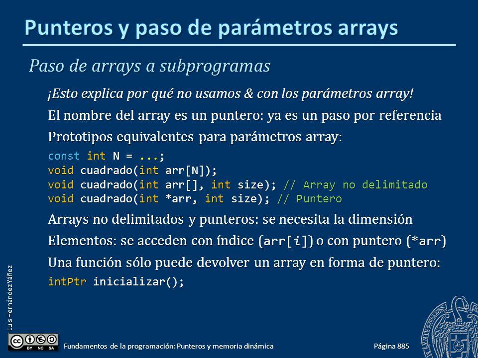 Luis Hernández Yáñez Paso de arrays a subprogramas ¡Esto explica por qué no usamos & con los parámetros array! El nombre del array es un puntero: ya e
