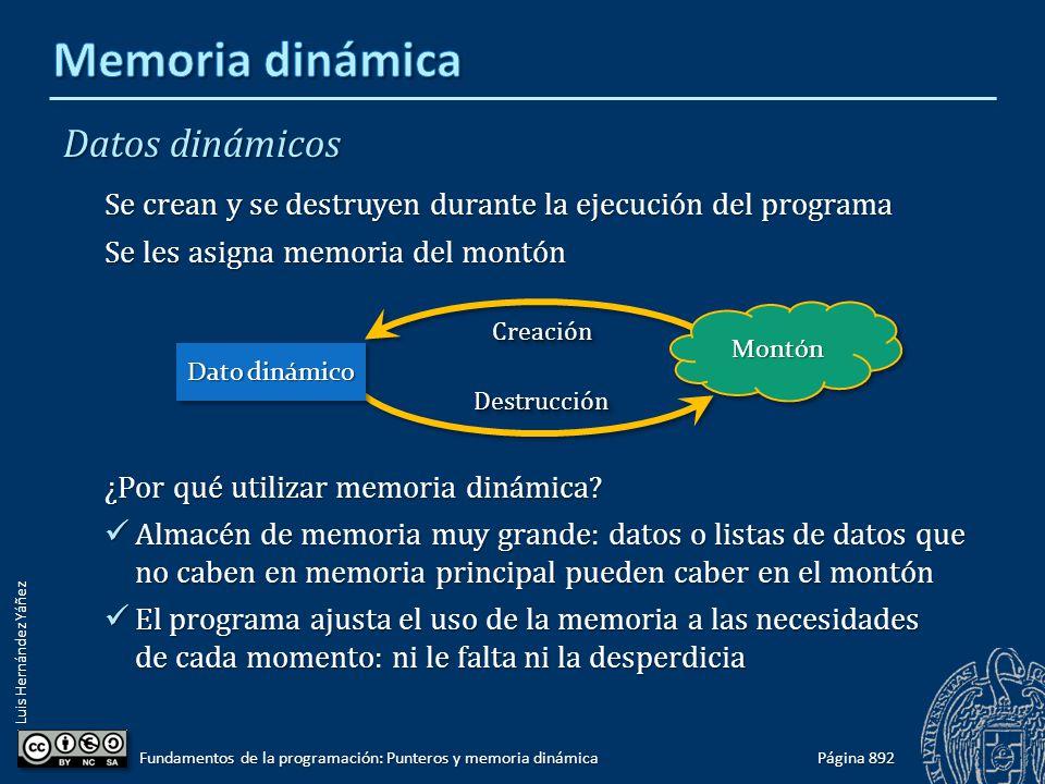Luis Hernández Yáñez Página 892 Fundamentos de la programación: Punteros y memoria dinámica Datos dinámicos Se crean y se destruyen durante la ejecuci