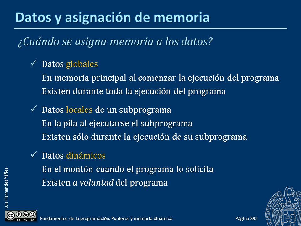 Luis Hernández Yáñez Página 893 Fundamentos de la programación: Punteros y memoria dinámica ¿Cuándo se asigna memoria a los datos? Datos globales Dato