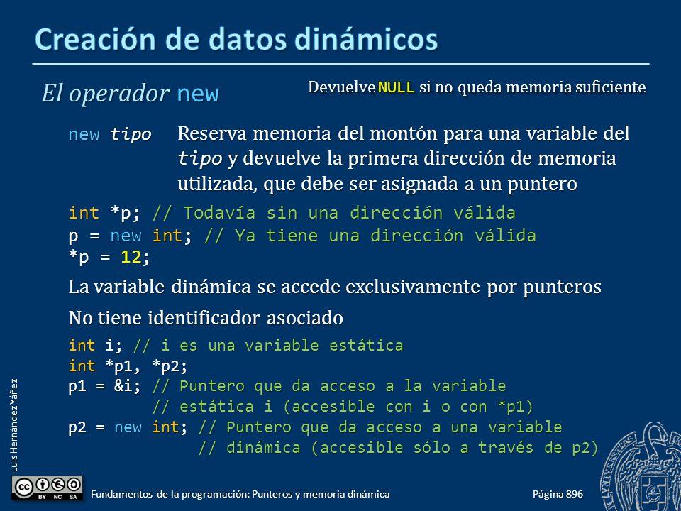 Luis Hernández Yáñez Página 896 Fundamentos de la programación: Punteros y memoria dinámica El operador new new tipo Reserva memoria del montón para u