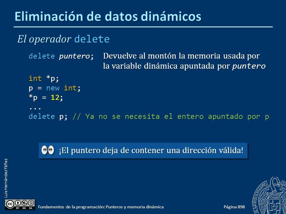 Luis Hernández Yáñez Página 898 Fundamentos de la programación: Punteros y memoria dinámica El operador delete delete puntero; Devuelve al montón la m