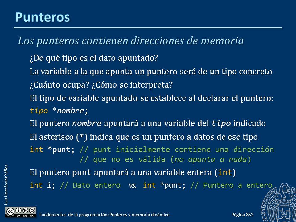 Luis Hernández Yáñez Los punteros contienen direcciones de memoria ¿De qué tipo es el dato apuntado? La variable a la que apunta un puntero será de un