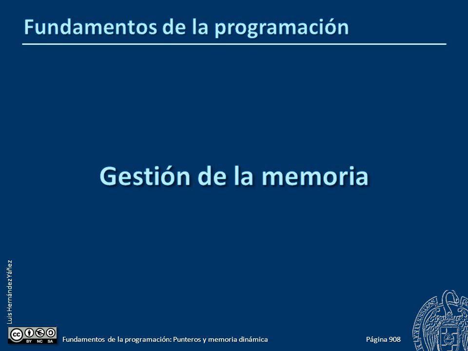 Luis Hernández Yáñez Página 908 Fundamentos de la programación: Punteros y memoria dinámica