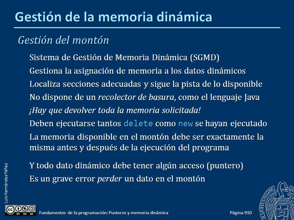 Luis Hernández Yáñez Página 910 Fundamentos de la programación: Punteros y memoria dinámica Gestión del montón Sistema de Gestión de Memoria Dinámica