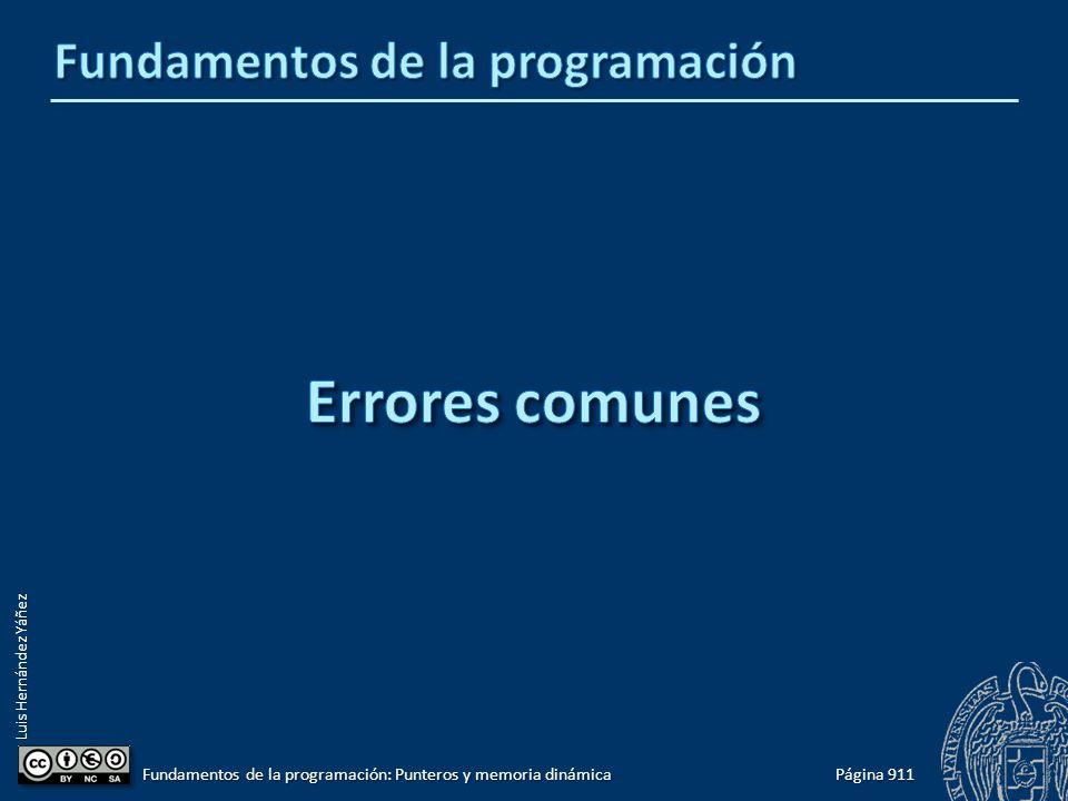 Luis Hernández Yáñez Página 911 Fundamentos de la programación: Punteros y memoria dinámica