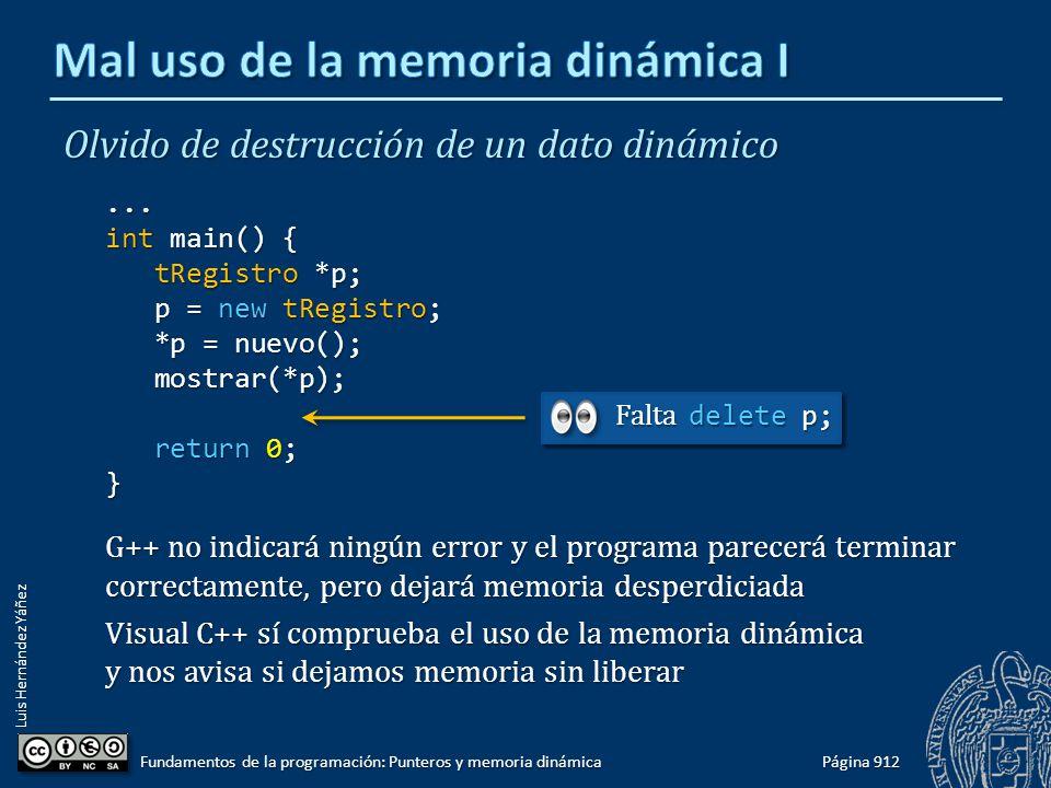 Luis Hernández Yáñez Página 912 Fundamentos de la programación: Punteros y memoria dinámica Olvido de destrucción de un dato dinámico... int main() {