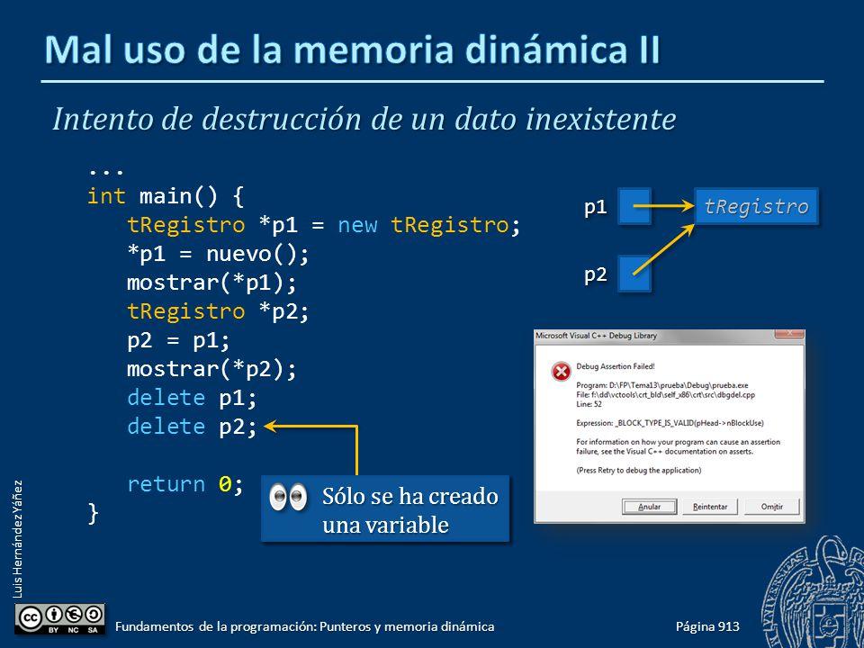 Luis Hernández Yáñez Página 913 Fundamentos de la programación: Punteros y memoria dinámica Intento de destrucción de un dato inexistente... int main(