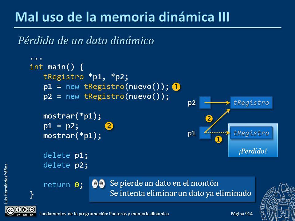 Luis Hernández Yáñez ¡Perdido! Página 914 Fundamentos de la programación: Punteros y memoria dinámica Pérdida de un dato dinámico... int main() { tReg