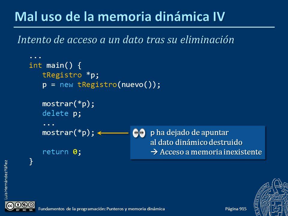 Luis Hernández Yáñez Página 915 Fundamentos de la programación: Punteros y memoria dinámica Intento de acceso a un dato tras su eliminación... int mai