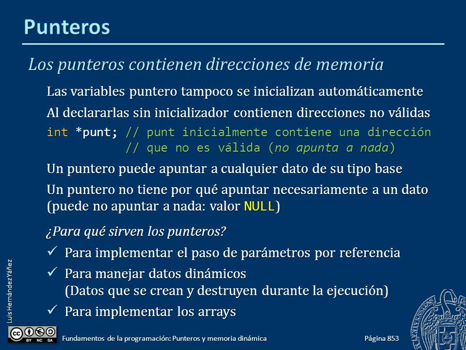 Luis Hernández Yáñez Los punteros contienen direcciones de memoria Las variables puntero tampoco se inicializan automáticamente Al declararlas sin ini