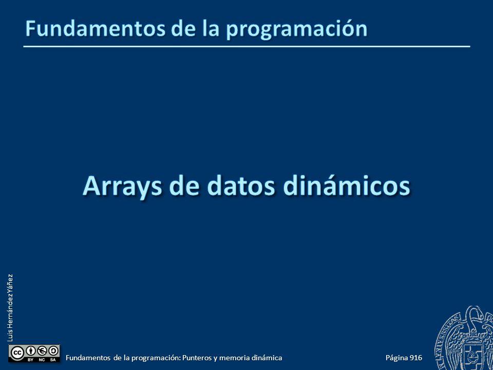Luis Hernández Yáñez Página 916 Fundamentos de la programación: Punteros y memoria dinámica