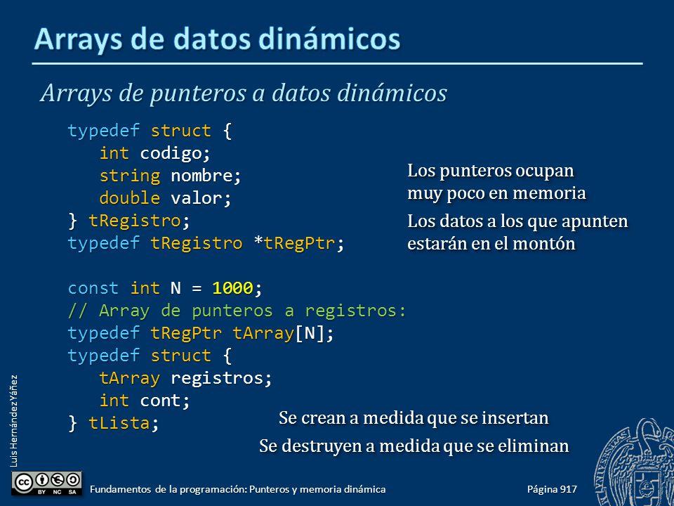 Luis Hernández Yáñez Página 917 Fundamentos de la programación: Punteros y memoria dinámica Arrays de punteros a datos dinámicos typedef struct { int