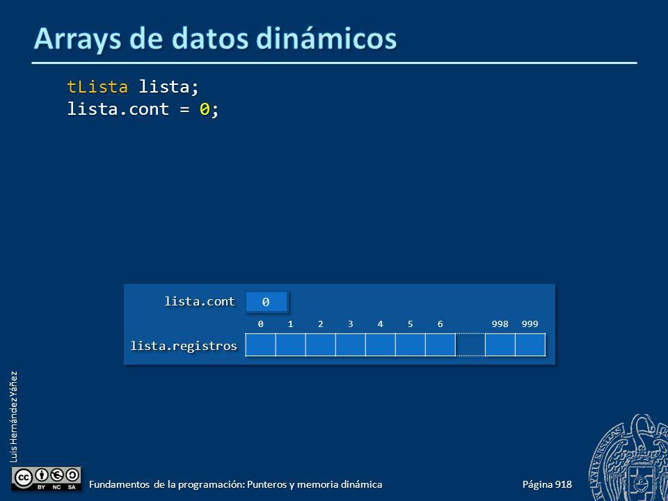 Luis Hernández Yáñez Página 918 Fundamentos de la programación: Punteros y memoria dinámica tLista lista; lista.cont = 0; lista.registroslista.registr
