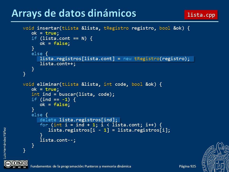 Luis Hernández Yáñez Página 925 Fundamentos de la programación: Punteros y memoria dinámica void insertar(tLista &lista, tRegistro registro, bool &ok)