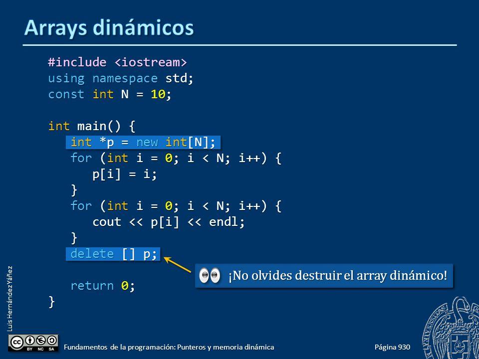 Luis Hernández Yáñez Página 930 Fundamentos de la programación: Punteros y memoria dinámica #include #include using namespace std; const int N = 10; i