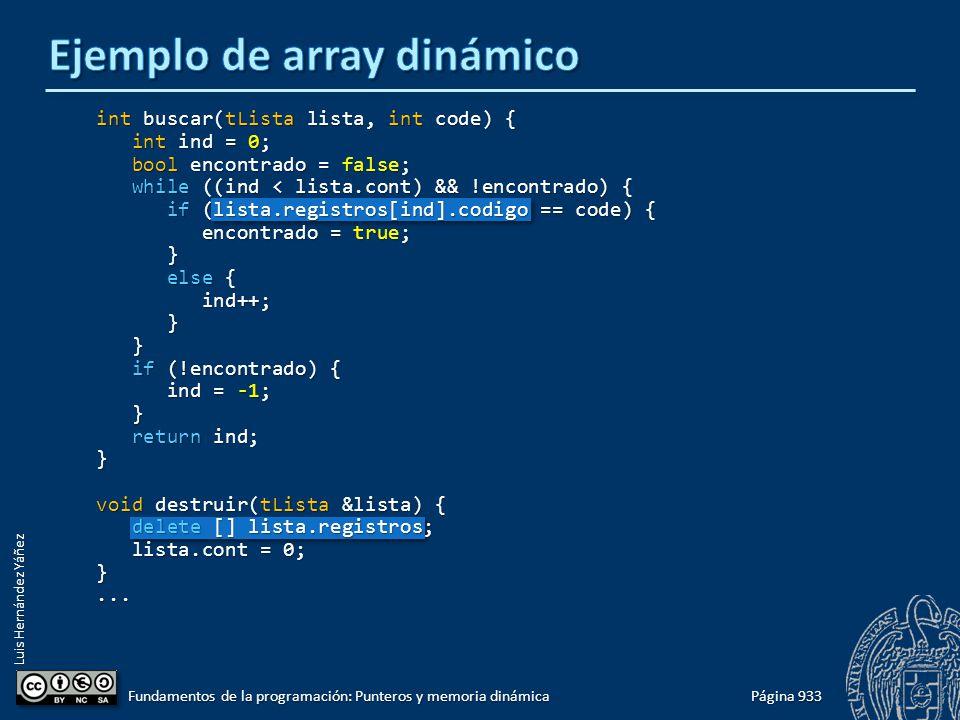 Luis Hernández Yáñez Página 933 Fundamentos de la programación: Punteros y memoria dinámica int buscar(tLista lista, int code) { int ind = 0; int ind