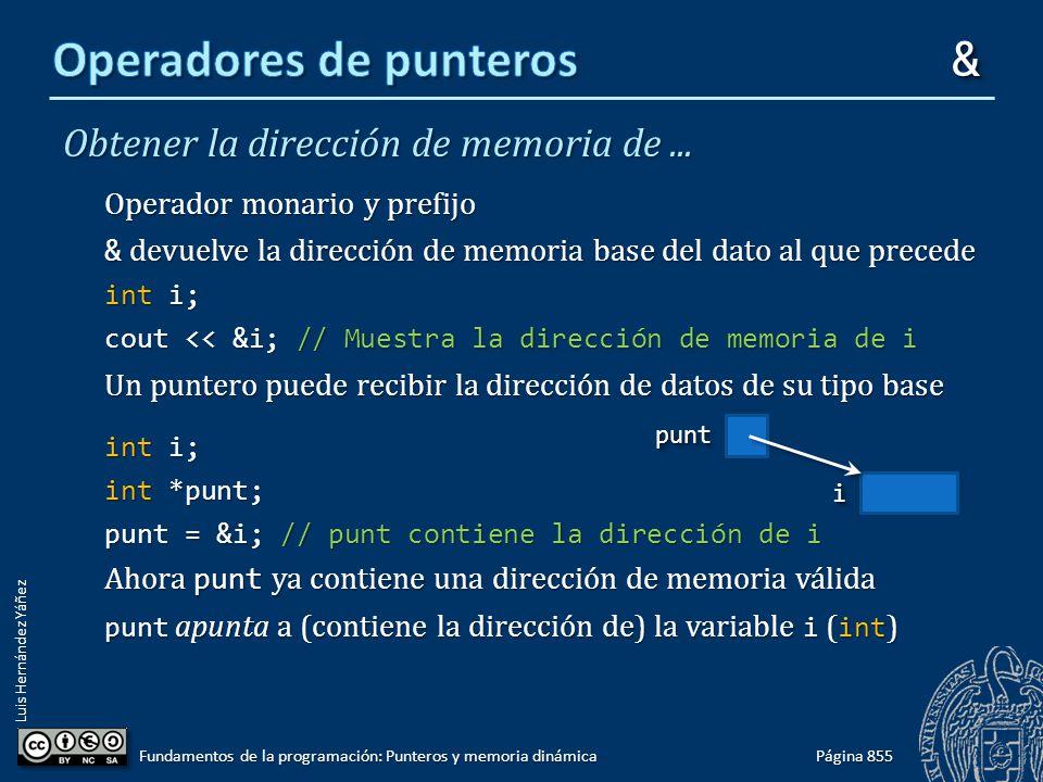 Luis Hernández Yáñez Obtener la dirección de memoria de... Operador monario y prefijo & devuelve la dirección de memoria base del dato al que precede