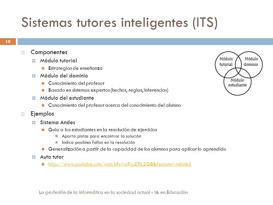Sistemas tutores inteligentes (ITS) 10 Componentes Módulo tutorial Estrategias de enseñanza Módulo del dominio Conocimiento del profesor Basado en sis