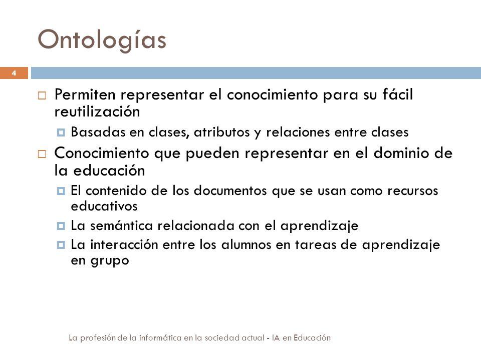 Ontologías 4 Permiten representar el conocimiento para su fácil reutilización Basadas en clases, atributos y relaciones entre clases Conocimiento que