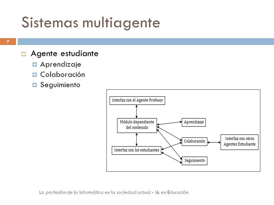 Sistemas multiagente 7 Agente estudiante Aprendizaje Colaboración Seguimiento La profesión de la informática en la sociedad actual - IA en Educación