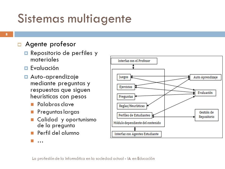 Sistemas multiagente 8 Agente profesor Repositorio de perfiles y materiales Evaluación Auto-aprendizaje mediante preguntas y respuestas que siguen heu