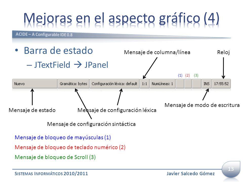 Barra de estado – JTextField JPanel S ISTEMAS I NFORMÁTICOS 2010/2011 Mensaje de estado Mensaje de configuración sintáctica Mensaje de configuración l