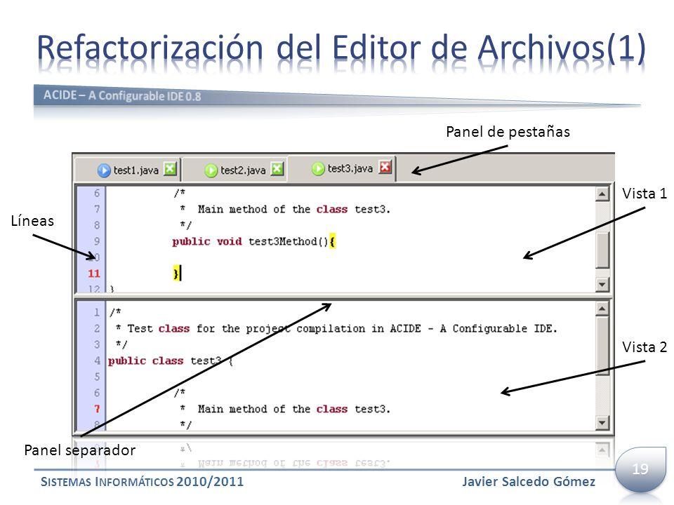 S ISTEMAS I NFORMÁTICOS 2010/2011 Panel separador Vista 1 Vista 2 Líneas Panel de pestañas Javier Salcedo Gómez