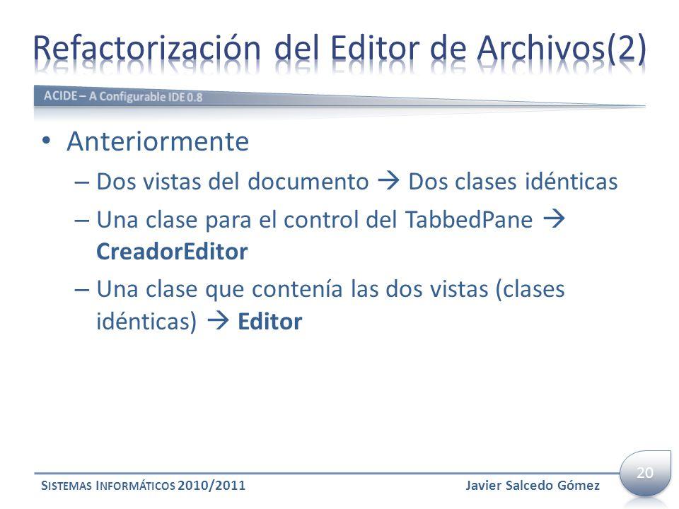 Anteriormente – Dos vistas del documento Dos clases idénticas – Una clase para el control del TabbedPane CreadorEditor – Una clase que contenía las do