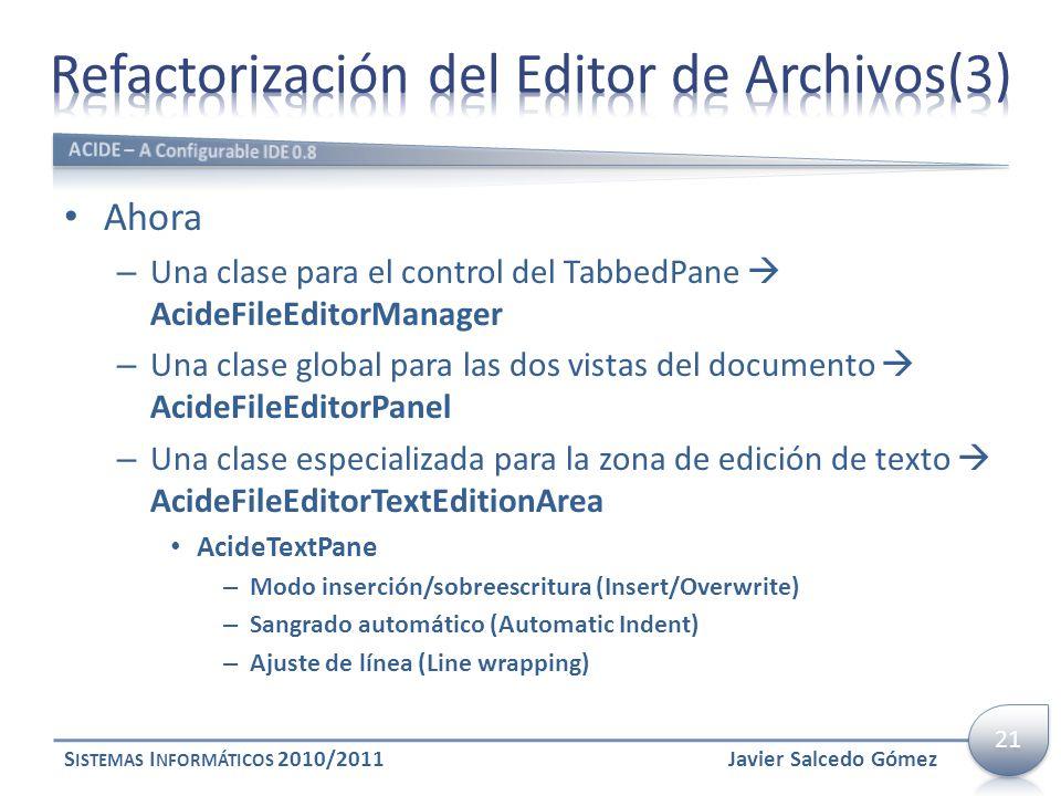 Ahora – Una clase para el control del TabbedPane AcideFileEditorManager – Una clase global para las dos vistas del documento AcideFileEditorPanel – Un