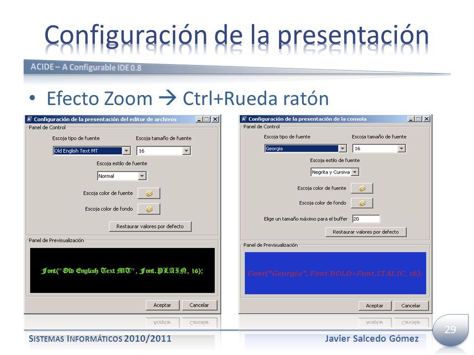 Efecto Zoom Ctrl+Rueda ratón S ISTEMAS I NFORMÁTICOS 2010/2011Javier Salcedo Gómez