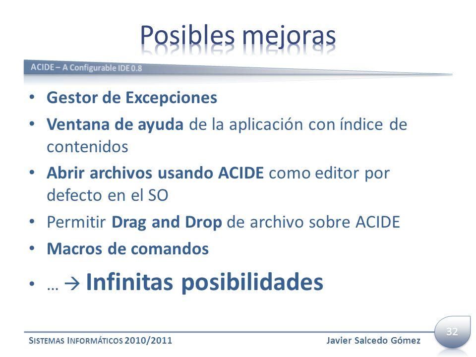 Gestor de Excepciones Ventana de ayuda de la aplicación con índice de contenidos Abrir archivos usando ACIDE como editor por defecto en el SO Permitir