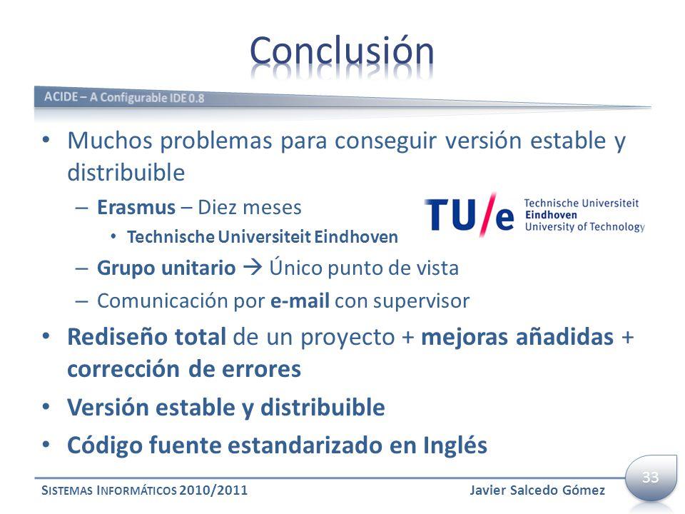 Muchos problemas para conseguir versión estable y distribuible – Erasmus – Diez meses Technische Universiteit Eindhoven – Grupo unitario Único punto d