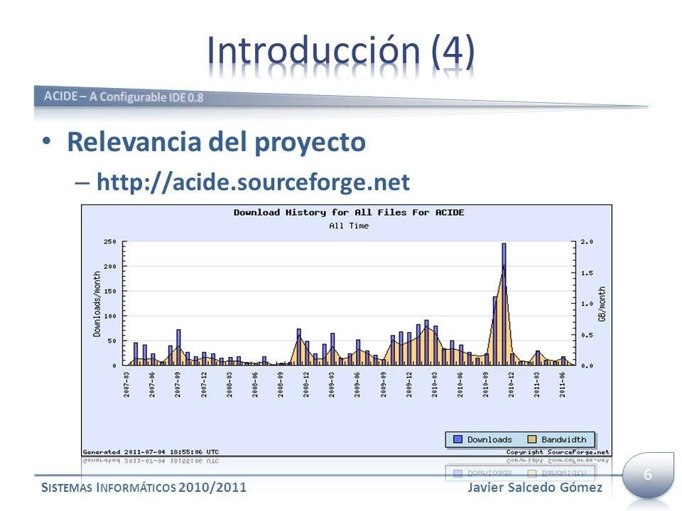 Relevancia del proyecto – http://acide.sourceforge.net S ISTEMAS I NFORMÁTICOS 2010/2011Javier Salcedo Gómez