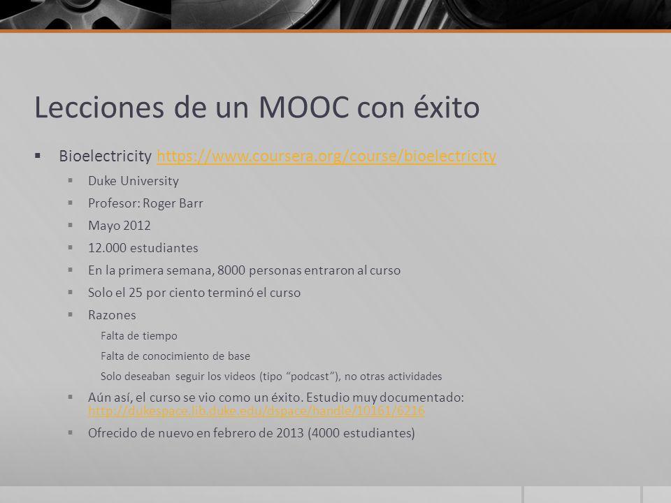 Lecciones de un MOOC con éxito Bioelectricity https://www.coursera.org/course/bioelectricityhttps://www.coursera.org/course/bioelectricity Duke Univer
