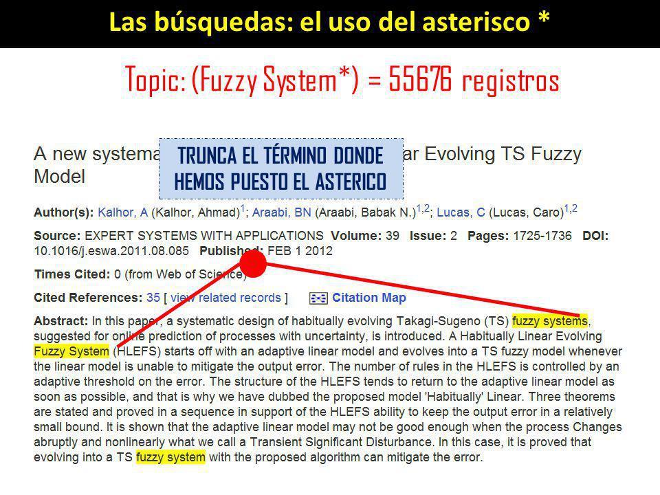 Las búsquedas: el uso del asterisco * Topic: (Fuzzy System*) = 55676 registros TRUNCA EL TÉRMINO DONDE HEMOS PUESTO EL ASTERICO