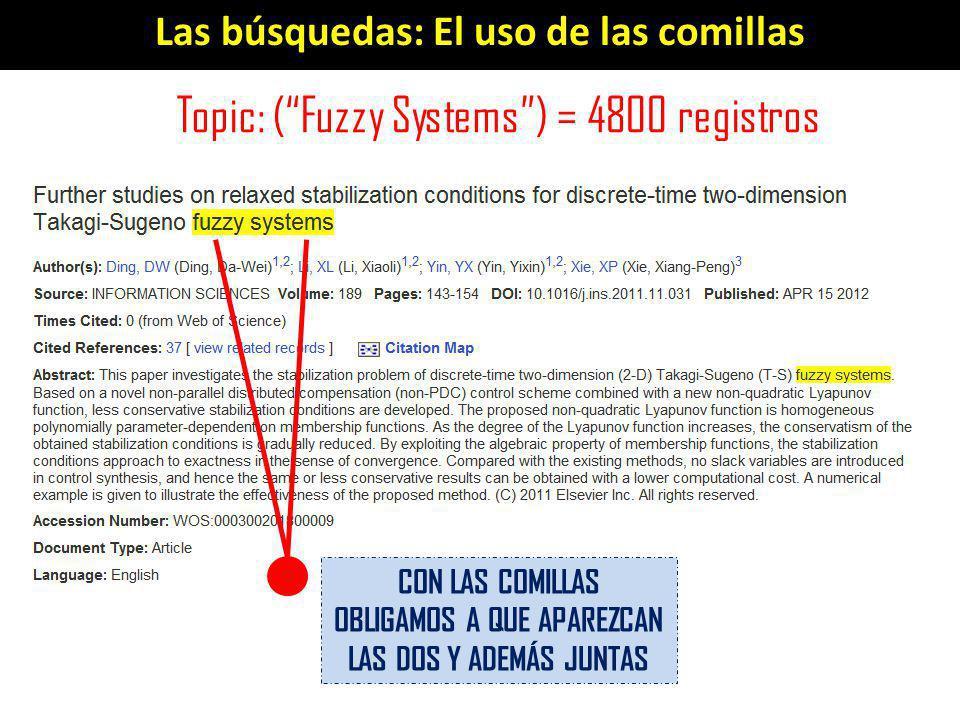Las búsquedas: El uso de las comillas Topic: (Fuzzy Systems) = 4800 registros CON LAS COMILLAS OBLIGAMOS A QUE APAREZCAN LAS DOS Y ADEMÁS JUNTAS