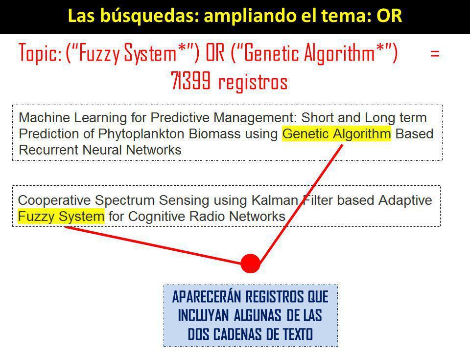 Las búsquedas: ampliando el tema: OR Topic: (Fuzzy System*) OR (Genetic Algorithm*) = 71399 registros APARECERÁN REGISTROS QUE INCLUYAN ALGUNAS DE LAS