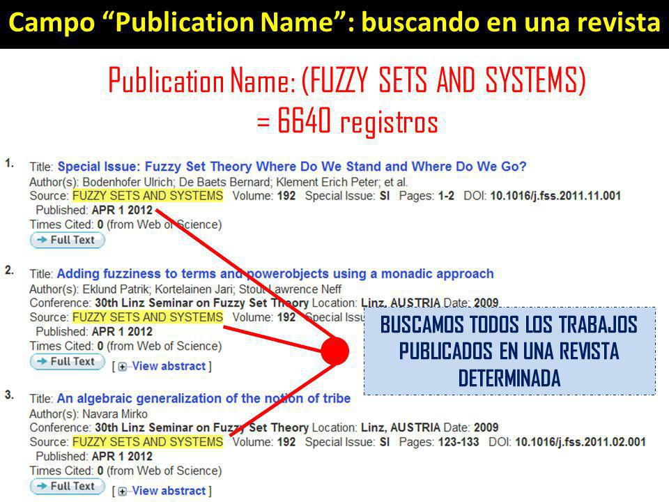 Campo Publication Name: buscando en una revista Publication Name: (FUZZY SETS AND SYSTEMS) = 6640 registros BUSCAMOS TODOS LOS TRABAJOS PUBLICADOS EN UNA REVISTA DETERMINADA