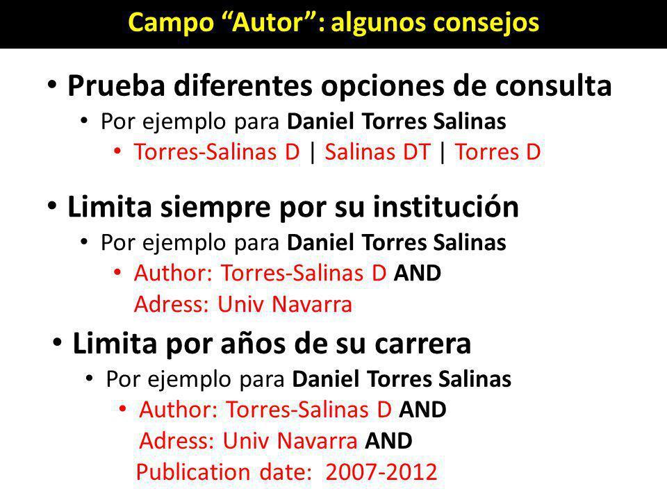 Campo Autor: algunos consejos Prueba diferentes opciones de consulta Por ejemplo para Daniel Torres Salinas Torres-Salinas D | Salinas DT | Torres D L