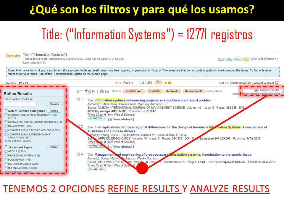 ¿Qué son los filtros y para qué los usamos? Title: (Information Systems) = 12771 registros TENEMOS 2 OPCIONES REFINE RESULTS Y ANALYZE RESULTS