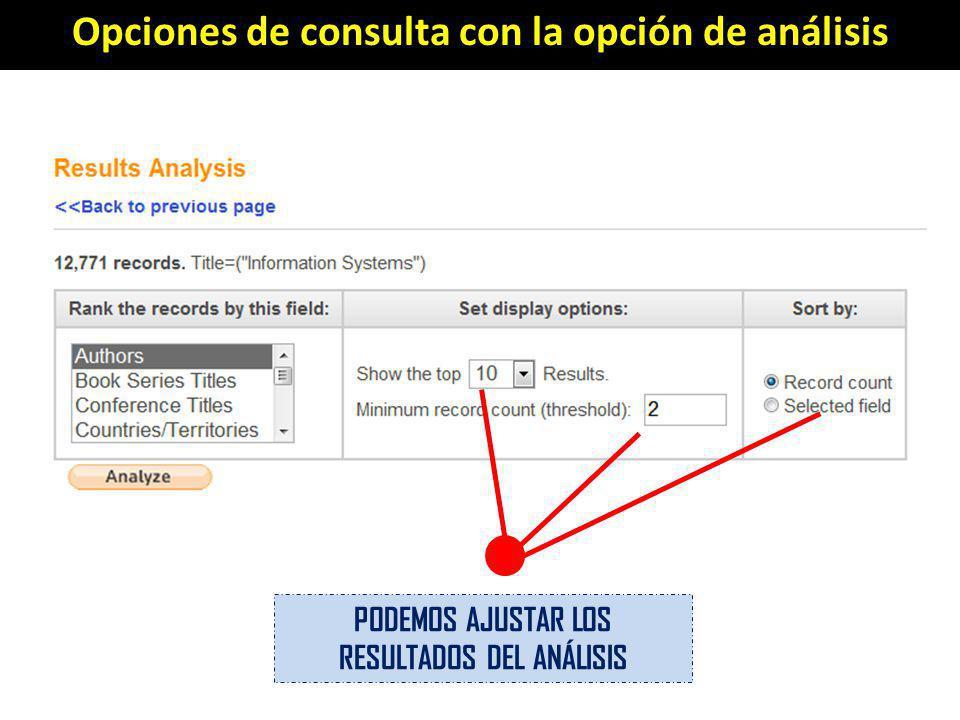 Opciones de consulta con la opción de análisis PODEMOS AJUSTAR LOS RESULTADOS DEL ANÁLISIS
